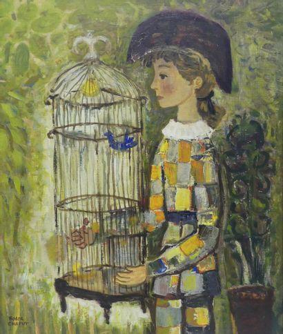 Roger CHAPUT (1909-1995)  Arlequin à la cage...
