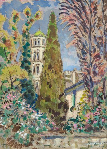 Edouard BOUILLÈRES (1900-1967)  Vue de clocher...