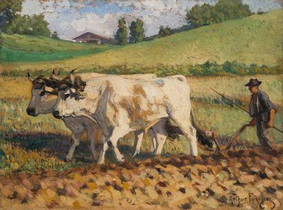 Arthur FOACHE (1871-1967)  Scène de labour...