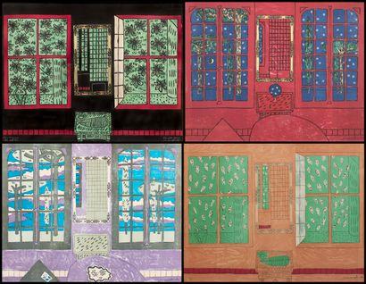 Vincent BIOULES (1938)  Les quatre fenêtres...
