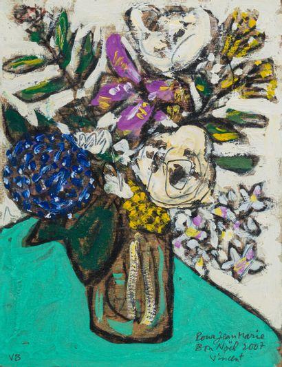 Vincent BIOULES (1938)  Bouquet de fleurs...