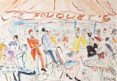 Marc CLAUZADE (1957)  Le Fouquet's  Gouache...