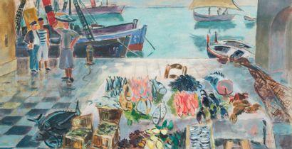 Arthur Raoul FAGES (1902-?)  Le marché de...