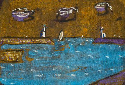 Vincent BIOULES (1938)  Entrée de port  Huile...