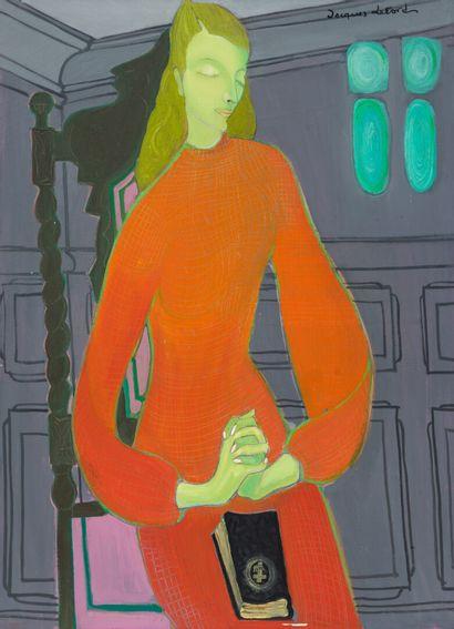 Jacques LETORD (XXe)  Femme à la robe rouge...