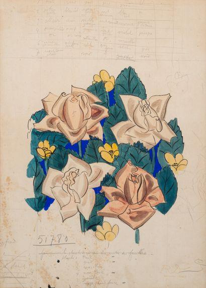 Raoul DUFY (1877-1953)  Projet de foulard...
