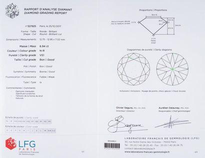 Bague solitaire diamant taille brillant, 6,94 carats, couleur N-R, pureté VS1, fluorescence...