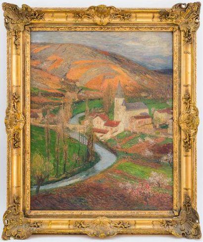 Henri MARTIN (1860-1943) Labastide-du-Vert Huile sur toile, signée en bas à droite...