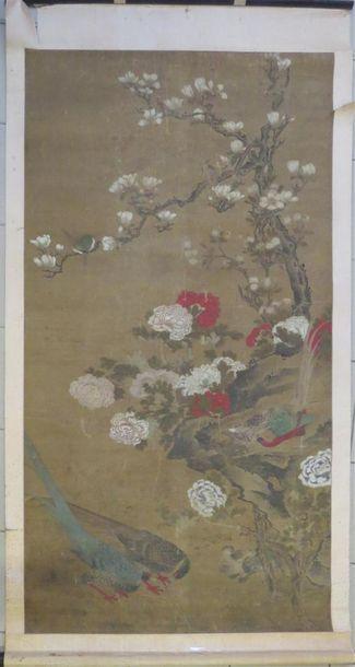 Peinture sur soie représentant des faisans,...