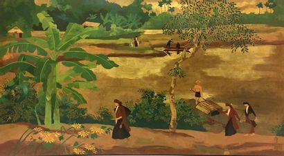 Van Ha TRAN (1911-?) Bord de rivière Laque...
