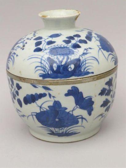 Pot à gingembre en porcelaine blanc et bleu...