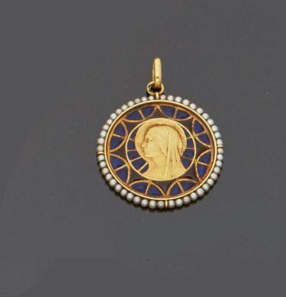 Médaille en or jaune 18 k (750 millièmes)...