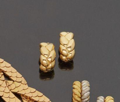 Paire de clips d'oreilles en or jaune 18...