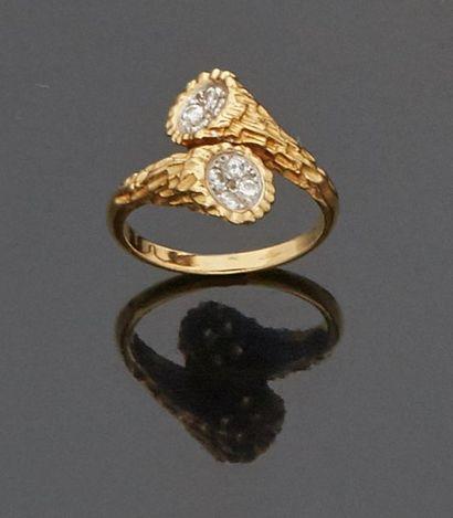 Bague «toi et moi» en or jaune 18 k (750...