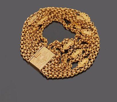 Bracelet à huit chaînettes en or jaune 18...