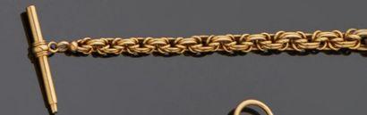 Chaîne de montre formant bracelet en or jaune...