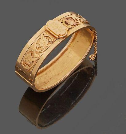 Bracelet rigide en or jaune 18 k (750 millièmes)...