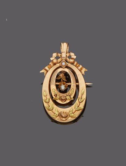 Broche pendentif aux trois ors jaune 18 k...