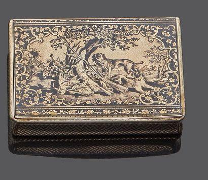 PARIS CIRCA 1840  Tabatière en argent niellé...
