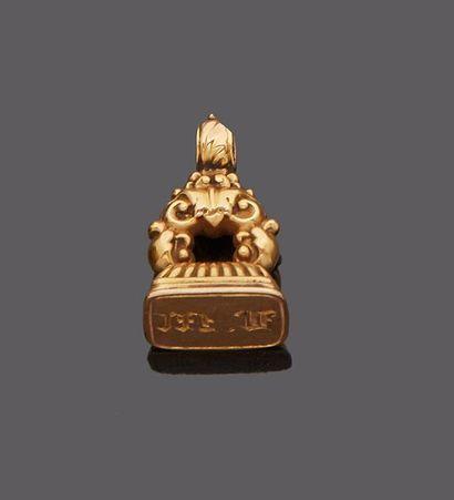 Cachet de châtelaine en or jaune 18 k (750...
