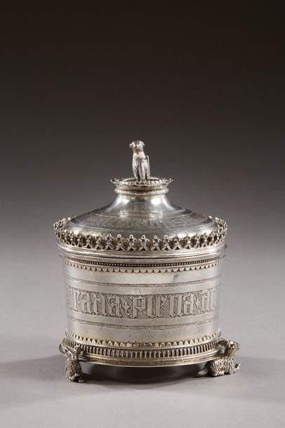 FRANCE XVe siècle  Boîte à hosties en argent...
