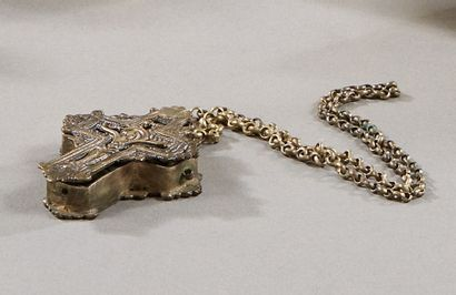 Croix reliquaire pendentif en métal avec...