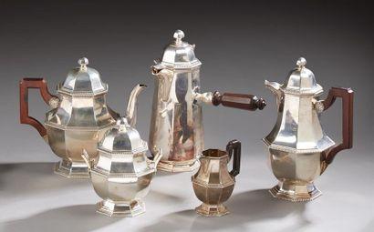 Service à thé/café/chocolat en argent à décor...