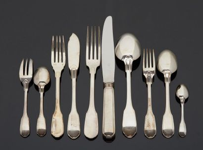 CHRISTOFLE goldsmith  Large silver cutlery housewife model net including:  - Eight...
