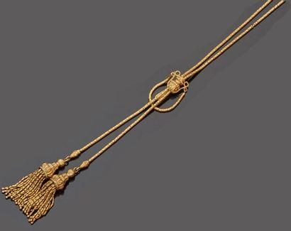 Collier négligé en or jaune 18 k (750 millièmes)...
