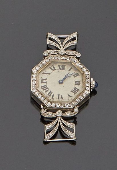 Platinum ladies' watch case with octagonal dial set with diamonds, openwork bracelet...