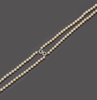 Collier de perles de culture en chute à double...