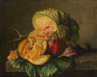 Louis Jacques CARREY (1822-1871)  Nature morte au melon  Huile sur toile, signée...