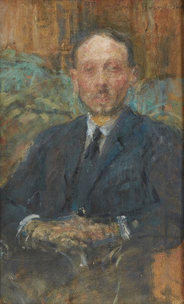 Olga BOZNANSKA (1865-1940) Portrait d'Armand Fourreau (1868 - 1941) Huile sur carton,...