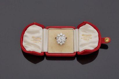 MELLERIO  Bague en platine sertie d'un diamant de demi taille 4,61 carats entouré...
