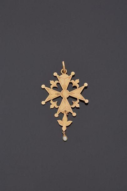 Croix du Saint Esprit en or jaune 18 k (750...