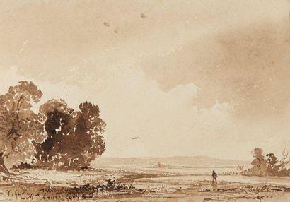 Théodore GUDIN (1802-1880)  Le pêcheur dans un paysage  Encre et lavis d'encre,...