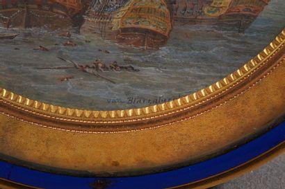 Nicolas VAN BLARENBERGHE (1716 - 1794)  Bataille navale entre l'Angleterre et le...