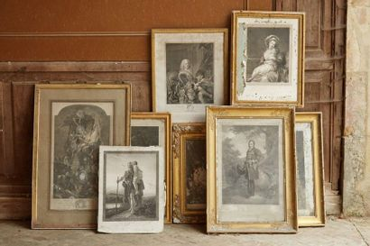 Batch of frames and engravings, most of them framed (as is, accidents and missing,...