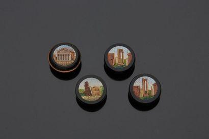 Quatre boutons en micro-mosaique romaine,...
