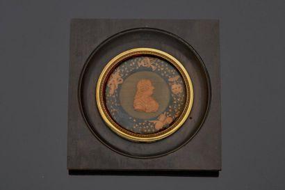 Cadre contenant le portrait de profil à droite...