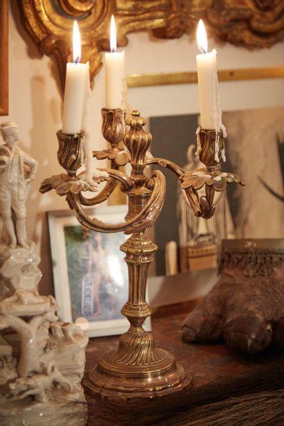 Paire de candélabres en bronze argenté à...