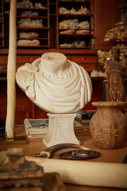 Buste acéphale en marbre sculpté d'un drapé...