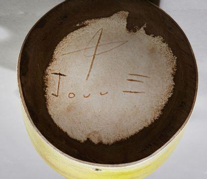 """Georges JOUVE (1910-1964).  Pied de lampe """" Trois boules """" en faïence émaillée jaune..."""