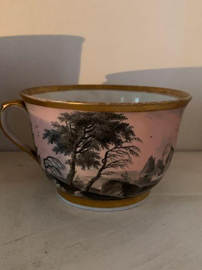 Large tasse à décor sur fond rose en camaïeu...