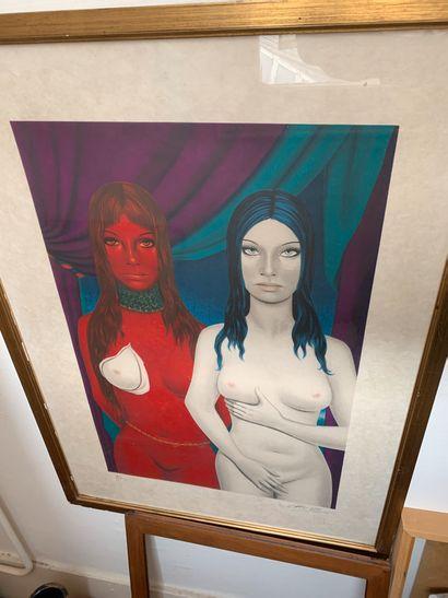 Félix LABISSE (1905-1982)  Deux femmes  Lithographie...