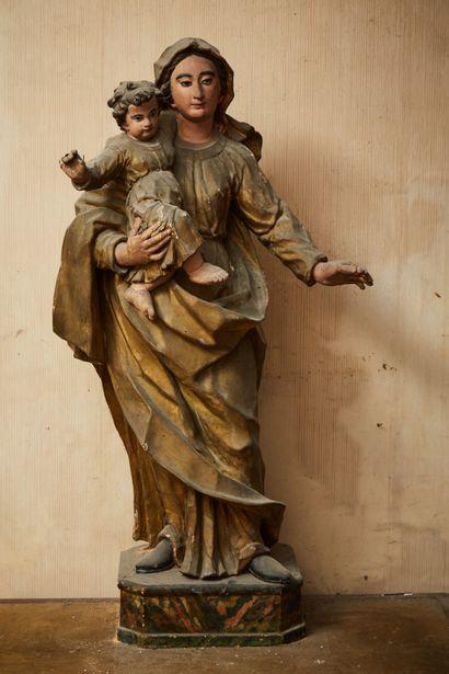 Importante statue vierge à l'enfant en bois...