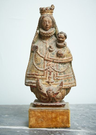 Statuette vierge à l'enfant en bois sculpté...