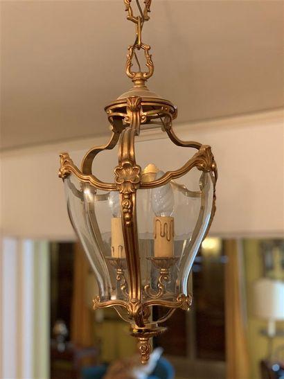 Petite suspension cage en bronze doré à deux...