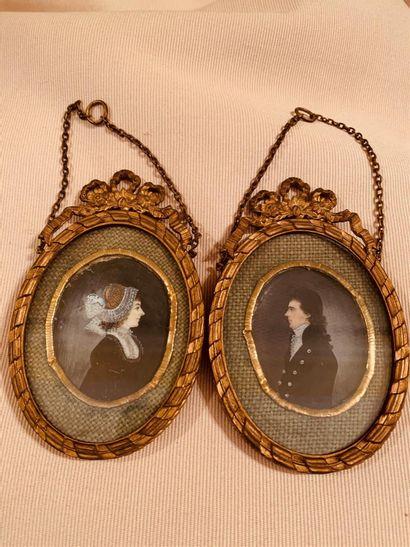 Deux miniatures représentant les portraits...