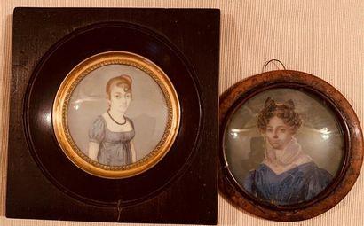 Deux miniatures rondes représentant des portraits...